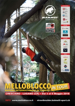 Melloblocco in Tour and the MBB Street Boulder, the great climbing festival that will take place from 3 to 6 May at Lugano and Cresciano (Switzerland).