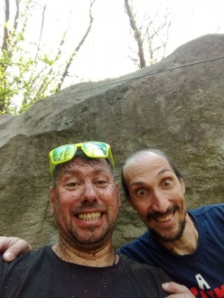 Melloblocco In Tour at Cresciano and Lugano: Jimmi Palermo and Simone Pedeferri, cleaning the boulder problems