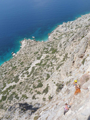 Wild Country (6a, 265m) Telendos, Kalymnos, Greece. First ascent Urs Odermatt & Peter Keller 22/05/2010