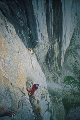 Climbing the route Troubles, cough and fever (540, 6b+, A1), N Face Roungkhanchan 1, Nangma Valley, Pakistan