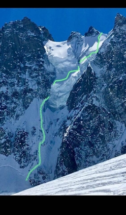 The impressive North Face of Triolet, Mont Blanc massif, and the line of the descent carried out by Jonathan Charlet (ski) and Christophe Henry (snowboard) on 18/04/2018