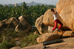 Rohit Chauhan bouldering in Hampi, India