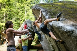 During the GraMitico bouldering meeting in Valle di Daone, Italy
