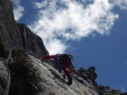 "Terzo giorno di scalata: gli ultimi tiri su ""El sueño de los excluidos"" Nevado Shaqsha (5703m, massiccio dello Huantsàn, Cordigliera Blanca, Perù)"