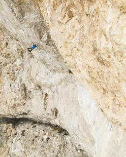Jonathan Siegrist making the third ascent of Jumbo Love 9b, the route freed by Chris Sharma at Clark Mountain in 2008