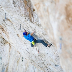 Jonathan Siegrist climbing Jumbo Love 9b at Clark Mountain, USA