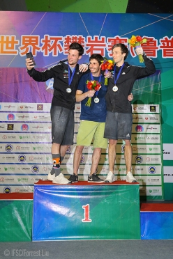 Time to celebrate: Jernej Kruder takes a selfie with stage winner Alex Khazanov and Gregor Vezonik at the end of the Tai'an stage of the Bouldering World Cup 2018