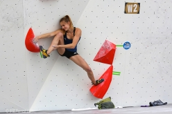 Competing at the Chongqing stage of the Bouldering World Cup 2018