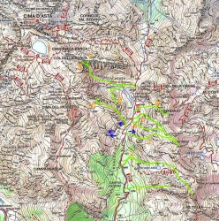 Ski mountaineering map Cima d'Asta and Alta Val Tolvà