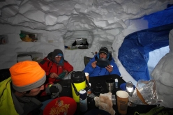 Revelation Mountains, Alaska: base camp in the snow cave for the French climbers Thomas Auvaro, Jeremy Fino, Matthieu Rideau and Antoine Rolle