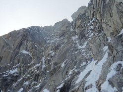 Thomas Auvaro, Jeremy Fino, Matthieu Rideau, Antoine Rolle climbing in the Revelation Mountains in Alaska