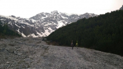 Simon Gietl & Vittorio Messini: the start, heading towards the North Face of Ortler