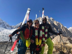 Tiphaine Duperier, Carole Chambaret and Boris Langenstein after the first integral ski descent of Laila Peak in Pakistan, carried out on 11/05/2018