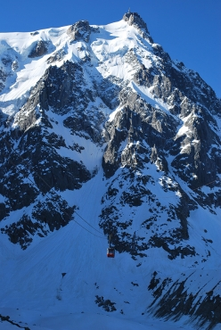 The cable car that leads from Chamonix to Aiguille du Midi