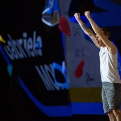 Gabriele Moroni, winner of the Bouldering World Cup at Hachioji in Japan