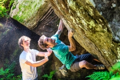 Stefano Ghisolfi, spotted by Adam Ondra, on Magic Line 18 at the GraMitico 2018 bouldering meeting in Valle di Daone