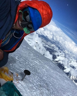 American alpinist Colin Haley on the summit of Denali after his record-breaking ascent of the Cassin Ridge 8 hours 7 minutes on 5 June 2018