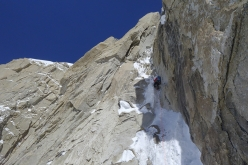 Chantel Astorga, belayed by Anne Gilbert Chase, making the first female ascent of the Slovak Direct on Denali