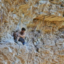 Stefano Ghisolfi having fun at Erto during his first visit to this historic crag