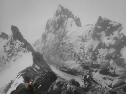 Caro North climbing the NE Face of Duke in Alaska during the first ascent of a new route with Brette Harrington