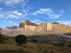 The Tsaranoro massif in Madagascar.