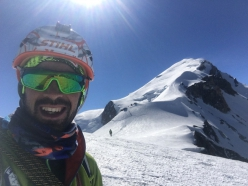Innominata Ridge: Robert Antonioli making a fast ascent of Mont Blanc on 28/06/2018 with Denis Trento