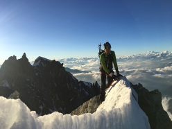 Innominata Ridge: Denis Trento making a fast ascent of Mont Blanc on 28/06/2018 with Robert Antonioli