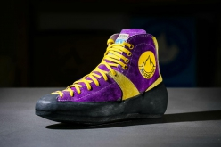 The Mariacher, the purple climbing shoes by La Sportiva, developed in 1982 by Heinz Mariacher