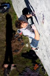 Lukasz Dudek making the first ascent