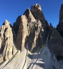 The line of the new climb up Mulo, the pre-summit of Cima Ovest di Lavaredo, established by Hannes Pfeifhofer and Dietmar Niederbrunner