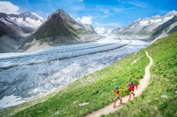 Running along a piece of the Bettmeralp Aletschgletscher, the biggest glacier in the Alps