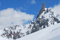 The Dent du Géant, Mont Blanc and the cable car that connect Aiguille du Midi with Punta Helbronner