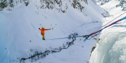 Lukas Irmler and Pablo Signoret walking a highline between two icefalls in the French Alps