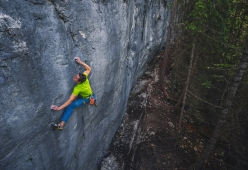 Adam Ondra making the first ascent of the 9b slab Disbelief at Acephale in Canada.