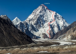 K2 and the line skied on Sunday 22 July 2018 by Andrzej Bargiel. From the summit the 30-year-old Pole followed the Abruzzi Spur, then plunged down the Cesen route before traversing below the seracs along the Messner variation and joining the Kukucka - Piotrowski line ascended in 1986. He followed this and added some new variations to complete the historic first ski descent of the second highest mountain in the world