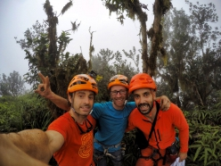 Eneko Pou,  Iker Pou and Manu Ponce after the first free ascent of Leve Leve (8b+, 450 m) up Pico Cão Grande, Sao Tomé