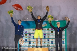 Male podium of the Lead World Cup 2018 at Briançon