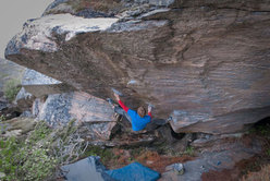 Nalle Hukkataival making the first ascent of The Diamond: