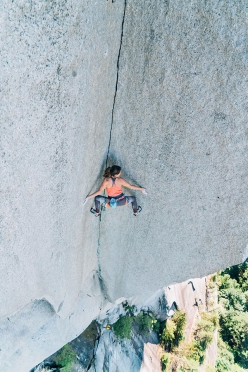 Barbara Zangerl climbing Shadow, The Chief, Squamish, Canada