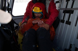 Alexander Gukov inside the helicopter that rescued him off Latok I.
