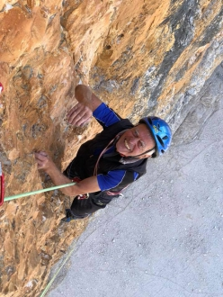 Reiner Kauschke on  30/07/2018 repeating the Saxon route - Superdirettissima up the North Face of Cima Grande di Lavaredo, Dolomites with Christoph Hainz