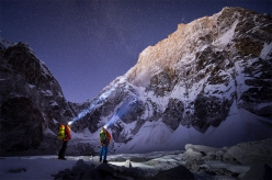David Lama and Conrad Anker below Lunag Ri