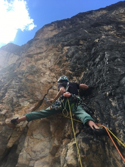 Agrodolce, Castello di Vallesinella, Brenta Dolomites: during the first ascent, Nicola Castagna at the start of pitch 3