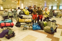 Mathieu Maynadier, Carlos Molina, Nicolas Favresse and Jean-Louis Wertz departing for the Tagas Valley, Karakorum