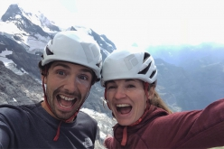 Jacopo Larcher and Barbara Zangerl celebrating after their free ascent of Magic Mushroom, Eiger