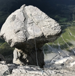 Eiger: the famous mushroom rock formation at the end of the climb Magic Mushroom