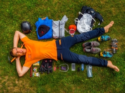 34-year-old Swiss mountaineer Dani Arnold and all the gear he used to climb Via Cassin up Grandes Jorasses on 27/07/2018 in 2:04
