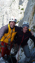 Rolando Larcher & Maurizio Oviglia, on the summit with an almost Patagonian wind