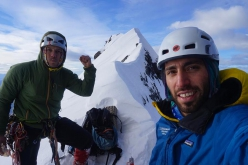 Felipe Bishara and Christian Barra Muño on the summit of Cerro Almirante Nieto, Patagonia during the first ascent of Línea de Libertad on 12/08/2018