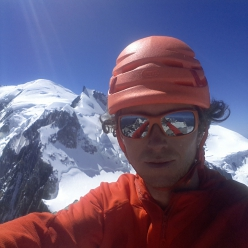 Philipp Angelo on the summit of Pilier Gervasutti, Mont Blanc du Tacul, after his free solo on 23/08/2016
